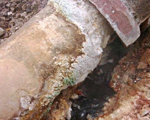 Sulfur-encrusted pipe at Beryl Spring