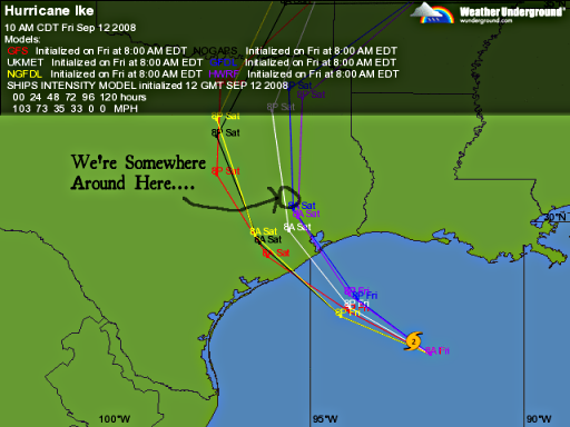 Hurricane Ike predicted tracks, going right through where we live as of 20080912T100000