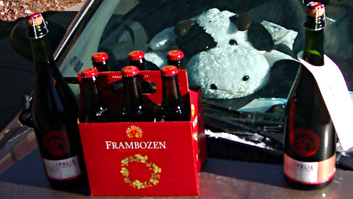 FloppyCow gazes from inside Flagella (my car) at the beer I just picked up at New Belgium Brewing Company - La Folie and Frambozen