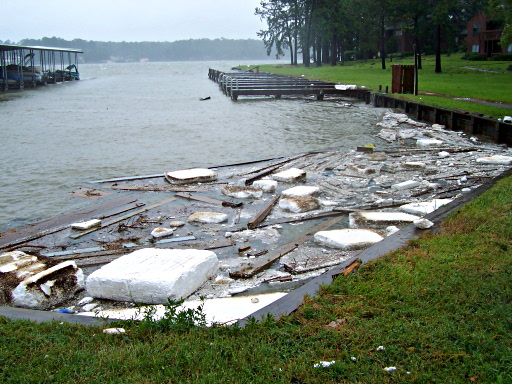 Debris left behind by Hurricane Ike, probably mostly ripped from nearby docks, piers, and so forth.