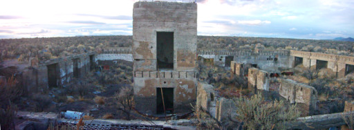 Composite image of the ruins of the Metropolis Hotel