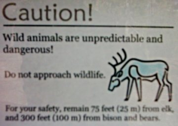 Sign: Caution - Wild Animals are Unpredictable and Dangerous!