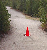 Traffic cone, in the middle of the trail
